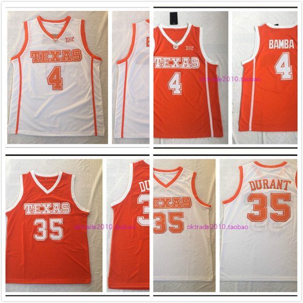 NCAA Texas Longhorns # 4 Mohamed Bamba Mo Jersey Durant 35 Kevin Orange Weiß beste Qualität genäht College Basketball Jerseys Drop Shipping