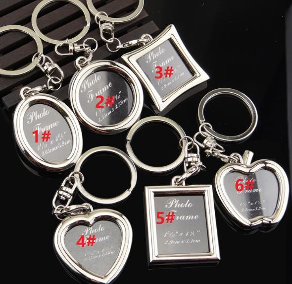 top popular Photo Frame Round Heart Apple Oval shape Alloy Keychain Key Chain Keyring Car Keychains Couples Keyring Business Gift 2021