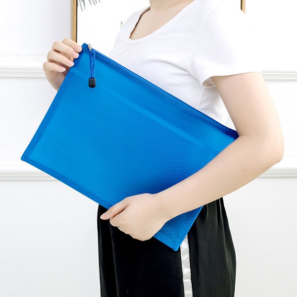 New Fashion Document Bag Grid Zipper File Folder Plastic Classified Storage Stationery Bag Thicken File Pocket Archival Bags VF1488