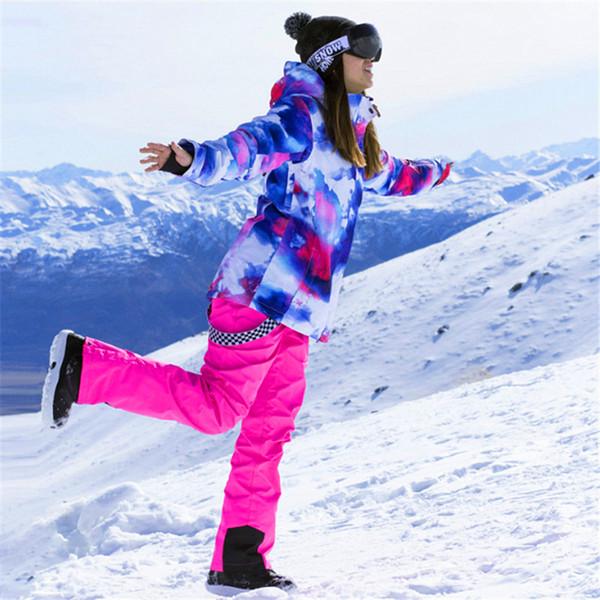 Winter Ski Jacket Women Windproof Waterproof Snowboarding Sets Climbing Snow Skiing Female Design Large Size Camping Hiking Suit
