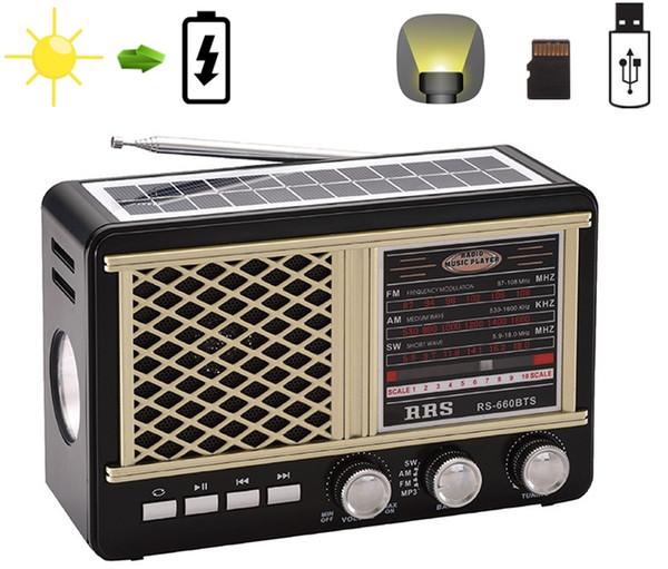 Солнечная аккумуляторная Радио Портативный радиоприемник FM / AM / SW с картой TF Поддержка USB Ауксин