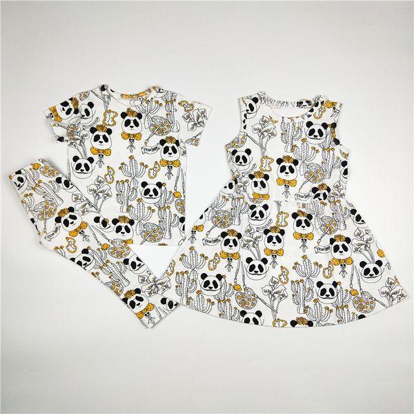 Bobozone Panda Print Dress T-shirt a maniche lunghe Pantaloni per bambini Ragazze Ragazzi Abbigliamento Y190518