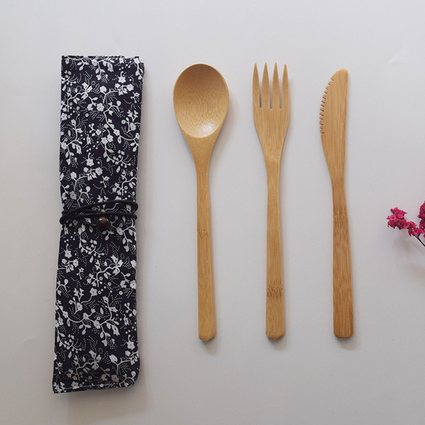 3Pcs/set Bamboo Dinnerware Set Bamboo Fork Knife Soup Teaspoon Catering Cutlery Set With Cloth Bag Outdoor travel portable tableware