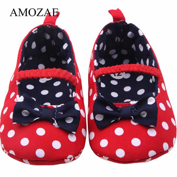 Yenidoğan Bebek Kız Bow Ayakkabı Kırmızı Lacivert Bebek Bebek Prenses Beyaz Nokta Ayakkabı Yumuşak Alt Yürüyor Bebek Küçük Çocuklar İlk Walker