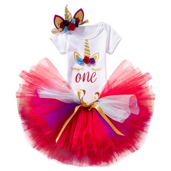Unicorn One Baby Birthday outfits Colorful Tulle tutu Skirts Bodysuit Short sleeve Unicorn Headband 3pcs/set 2019 Hotsale