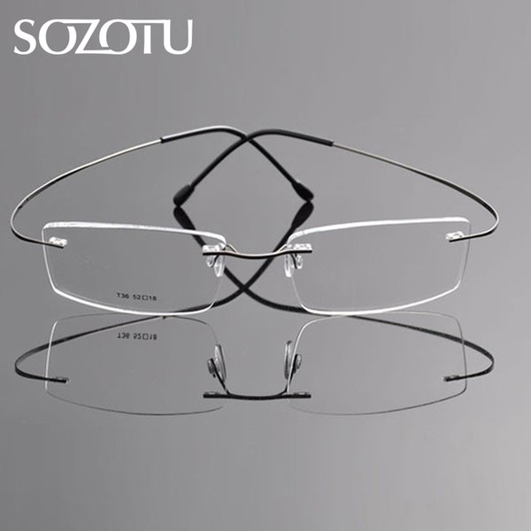 SOZOTU Eyeglasses Frame Men Women Computer Optical Glasses Spectacle Frame Male Rimless Pure Titanium Clear Lens Eyewear YQ593