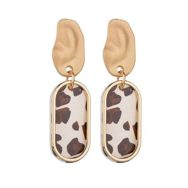 2018 New Vintage Leopard Oval Alloy Brown/White Pendant Earrings Apparel Wild Holiday Gift Bohemia style Earrings Women's Jewelry wholesale