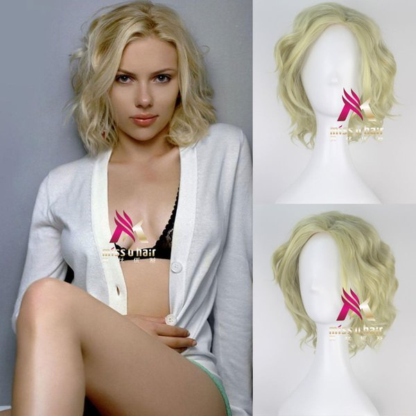 Lucy Short Wavy Synthetic Light Yellow Green Adult Prestyled Costume Cosplay Wig