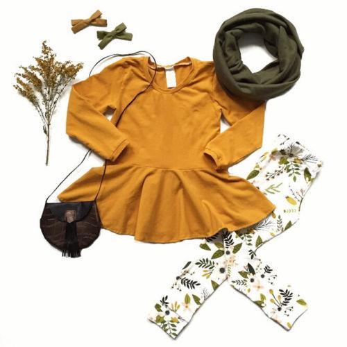 2pcs Toddler Kids Baby Girl clothes set long sleeve solid Shirt Top Dress+Leggings Set clothes