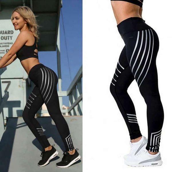 Leggings deportivos para mujeres Fitness Yoga Pantalones a rayas Summer Slim High Waist Running Jogger Pants Elastic Gym Sport Leggin