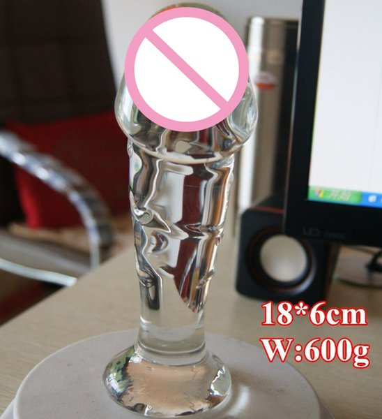 Hot Sale! 18*6cm Big Glass Dildo Realistic Penis Dick,huge Glass Dildo Lesbian Gay Sex Products Toys For Woman Men Penis Sex Shop Y19062002