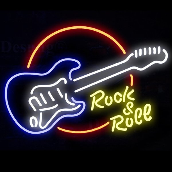 New Star Neon Sign Factory 17X14 Inches Real Glass Neon Sign Light for Beer Bar Pub Garage Room Rock Roll Guitar.