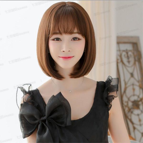 Großhandel Perücke Kurze Haare Weibliche Luft Knallt Kurze Glatte Haare Süß Süß Gesicht Reparatur Persönlichkeit Perücke Von Adultoyshop 754 Auf