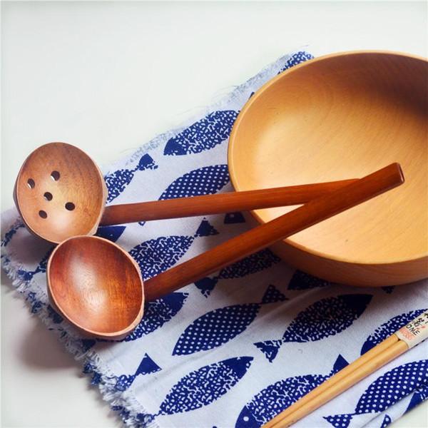 2 Stiller WoodenTurtle Çorba Kaşığı Kevgir Ahşap Sofra Japon Stili Ramen Ahşap Uzun Sap Hot Pot Kaşık LJJ_A547