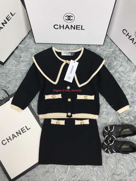 Kızlar etekler setleri çocuklar giysi tasarımcısı büyük yaka ceket + etek 2 adet inci süslenmiş sonbahar moda setleri örgü malzemesi