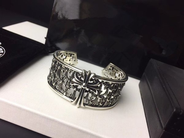 Ultra-wide version openwork hollow cross bracelet retro bracelet Gothic design style blends hip hop bracelets for men and women bangles