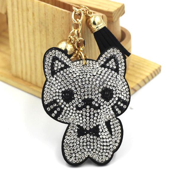 6 colori Portachiavi di moda di cristallo sveglia completa strass Panda chiave catena catena d'argento del sacchetto di Keychain Car Hanging del pendente