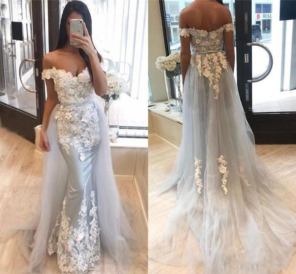 2020 Prom Dresses Mermaid Off Shoulder Lace 3D Applique Evening Gowns With Overskirts Sweep Train Formal Party Gowns