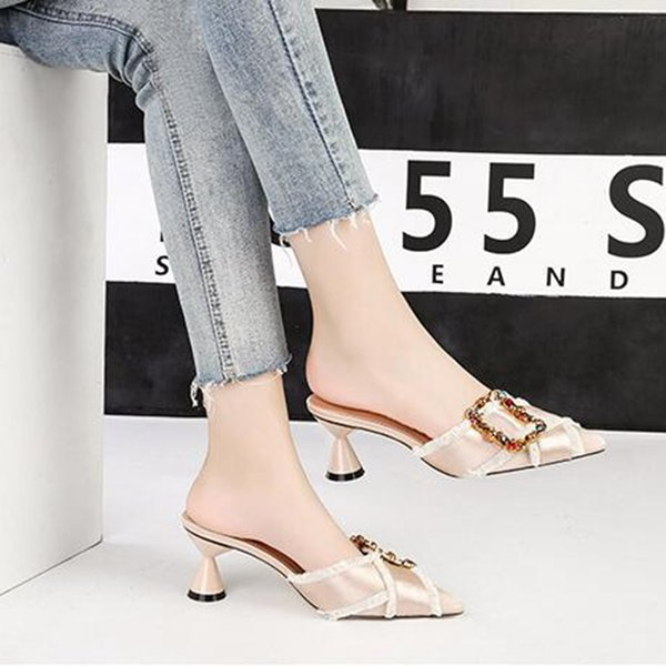 Simple New Artificial PU Pointed Rhinestone Women High Heels Sexy Sandals Ladies Fashion Stiletto Casual Slippers