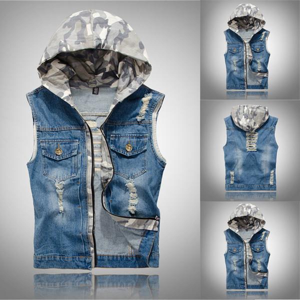 Colete Denim dos homens casuais Slim Fit Jaqueta Sem Mangas Coreano W / Hat Vaqueiro Dos Homens Vest Jeans Lavados Homem Nova Marca Regata Moda