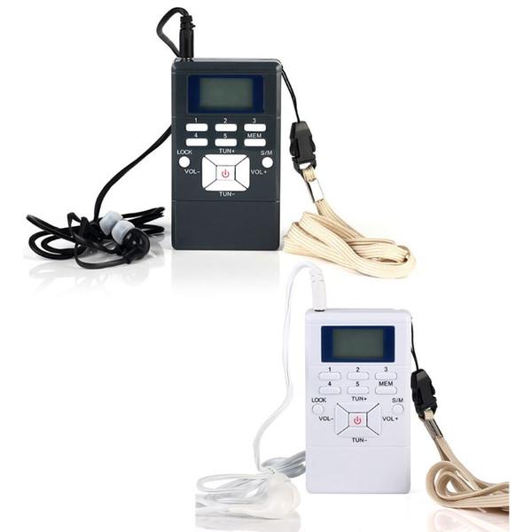 1 Set Mini Portable Double Canal Simple Bande LED Affichage Numérique FM Radio avec Écouteur pour Office Meeting Use Supplies