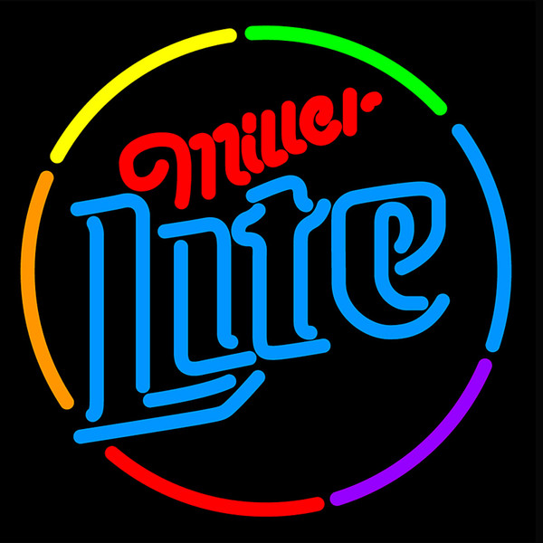 Programmable Colorful Custom Miller Lite Multi Color Circle Neon Sign Beer Bar Pub Home Room Wall Decor17''X14''