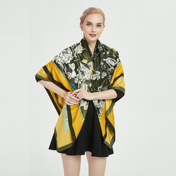 디자이너 스카프 여성 고급 새틴 실크 스퀘어 썬 스크린 130cm 꽃과 새 정글 쉬폰 히잡 스카프를 들어 여자