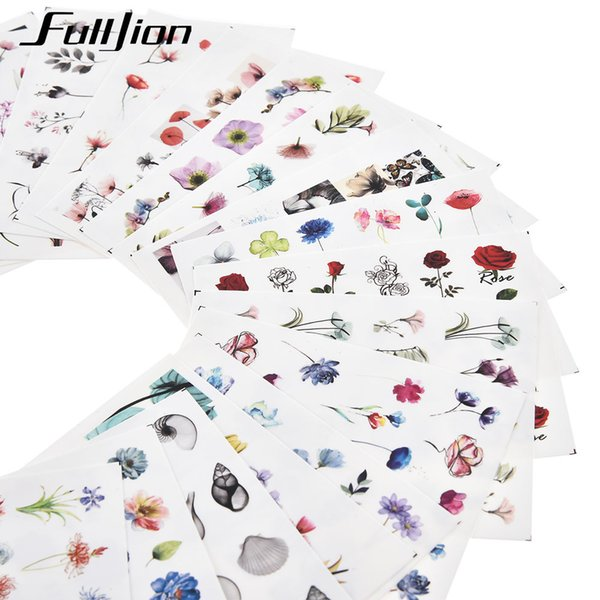 Fulljion 24Pcs Water Decals Nail Stickers Flower Transfer Slider For Nail Design Watercolor Floral Art Stickers Accessories
