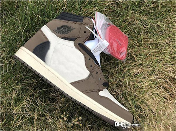 Wholesale 2019 1 High Travis Scotts OG TS SP 3M Men Basketball Shoes Cactus Jack Dark Mocha CD4487-100 Authentic Sneakers With Box