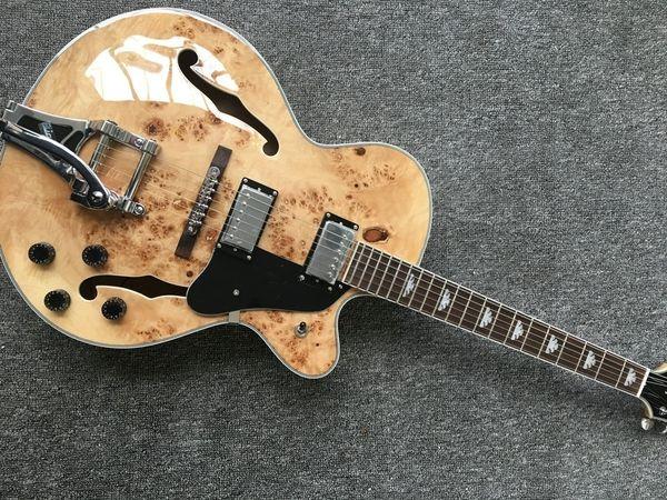 Coleccionable Guitarra ideal G6120 naturales de la chispa Cuerpo Encuadernación natura Falcon guitarra eléctrica del jazz del cuerpo hueco doble F agujero Bigs puente trémolo