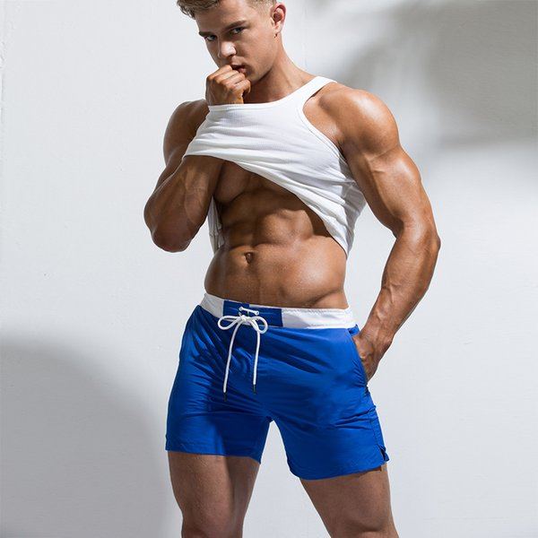 Men's Fast Drying Short Pants Beach Shorts Pool Solid Surfing Beach Volleyball Short Pants Mens Shorts and Boxers Pocket Lace Up