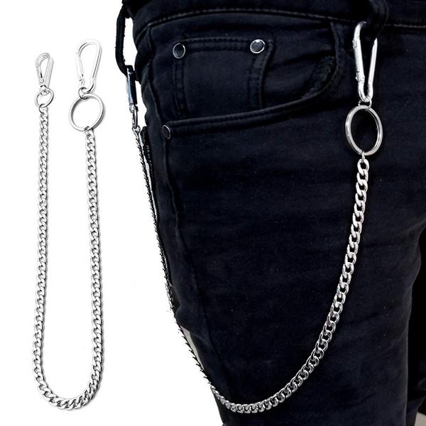 Stainless steel Big Ring Rock Punk Key Chains Clip Hip Hop Jewelry Pants KeyChain Wallet Chain Belt Biker Link
