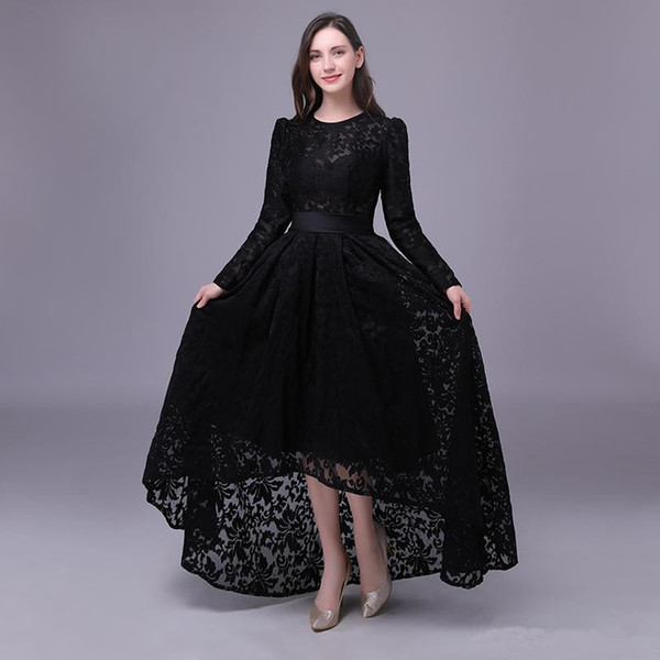 Black Lace Evening Dresses 2020 Long Sleeves Evening Gown Jewel Neck High  Low Prom Dress Vestido Evening Dresses For Plus Size Women Evening Dresses  ...