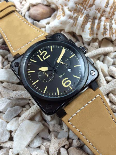 Hot Sale Limited pvd black Edition Men Watch sport quartz chronograph sapphire glass high Brown leather Belt 03-94 Radar Watches