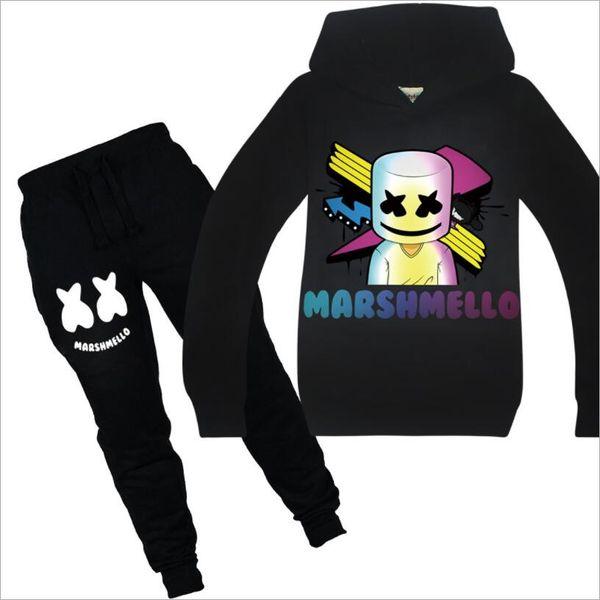 Çocuk Pamuk Karikatür Seti Boy DJ Marshmello Kişilik Baskı En Popüler Basit 2 Adet Suit Çocuk / Bebek Eşofman Giyim