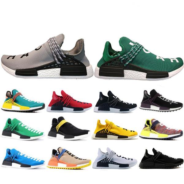 Newest 2019 Human Race Hu trail pharrell williams Running shoes Men Nerd black cream mens trainer women designer sports sneakers US 5-12