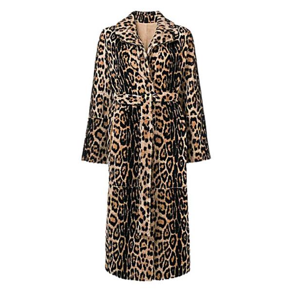 Sexy Leopard Faux Pelzmantel Frauen Winter Pelzjacken Druck Langarm Flauschige Jacke Umlegekragen Plus Größe Lange Mäntel C1