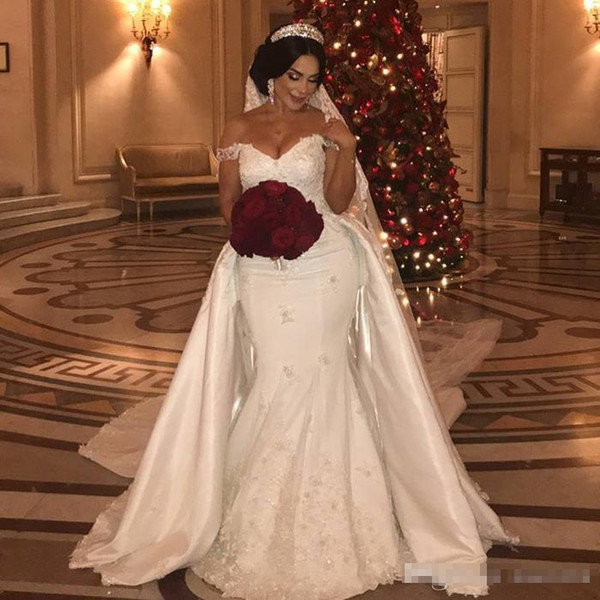 Beaded Lace Wedding Dresses 2019 With Detachable Train Off Shoulder Mermaid Bridal Gowns Applique Ivory Satin Wedding Dress