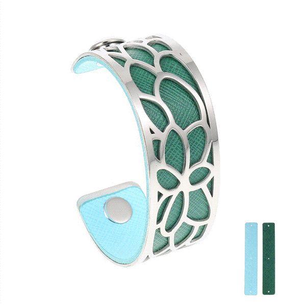 Legenstar Manschette ArmbänderArmbänder für Frauen 25 mm Lotus Edelstahl Reversible PU Leder Armband Austauschbar Schmuck