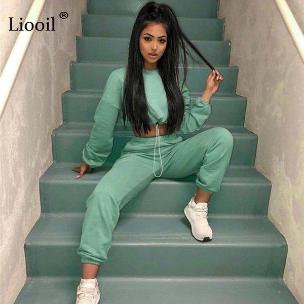 2 Adet Aktif Set Kadınlar Eşofman 2019 Sonbahar Kış Uzun Kollu Kazak Sweatpants Harem Pantolon Gündelik Koşucular OutfitMX190929 Liooil