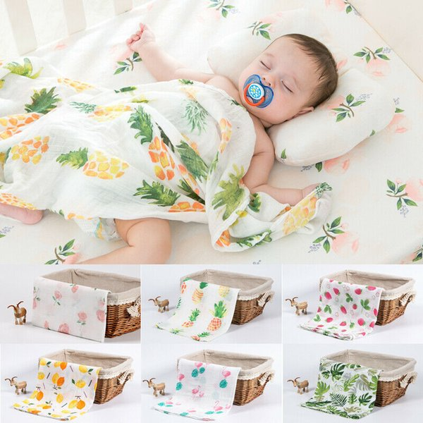Pudcoco Soft Large Cotton Muslin Swaddle Squares Blanket Newborn Infant Wrap for Baby Lovely Sleeping Bag Cloth120x120 cm