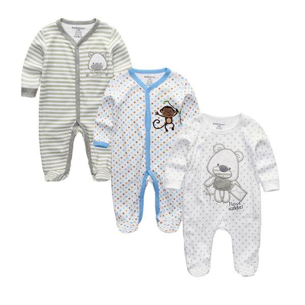 2019 Unisex 2/3pcs/lot Rompers 0-12m Pajamas Newborn Clothing Set Girls Baby Boy Clothes O-neck Roupa De Bebe J190514