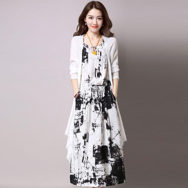 Sommer Frauen gedruckt Baumwolle Leinenkleid + langes Hemd 2017 neues Outwear langes Hemd und knöchellangen Kleid passt Sets Top-Qualität