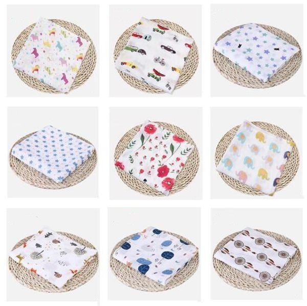 Muslin Cotton Blankets Kids Fox Giraffe Patterns Girls Boys Clothes Newborn Swaddle Muslin Infant Towel Baby Wrap 74 Styles Free Shipping