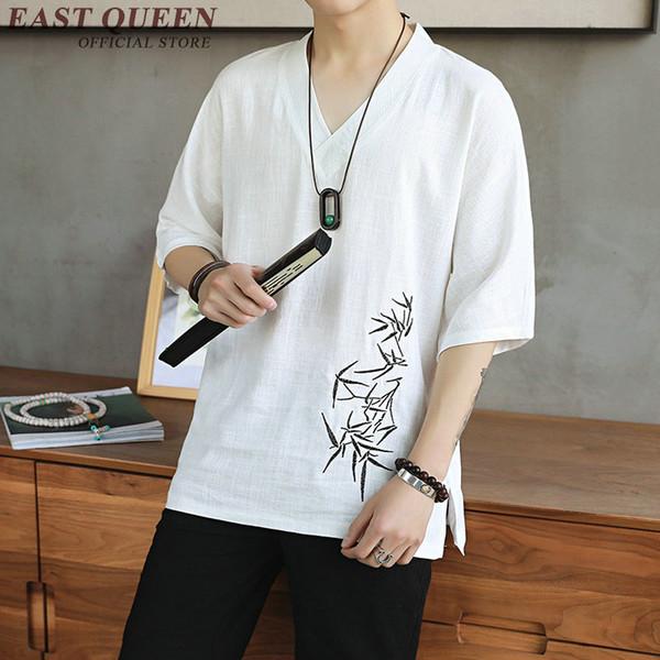 Chinois traditionnel chemisier chemise vêtements pour hommes top chemise en lin mandarin oriental mâle kimono tenue vêtements KK2302
