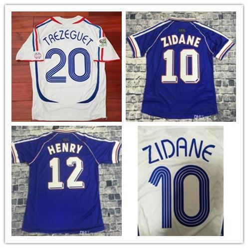 1998 Zidane Retro Futbol Formalar Djorkaeff Henry Deschamps 2006 Zidane Vieira Trezeguet Ribery Vintage Futbol Gömlek Maillot de Ayak