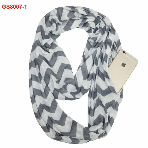 Fashionable high quality 100% cotton jersey chevron print zipper pocket infinity scarf wholesale