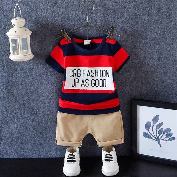 Must-have Baby Boys Designer Clothes Children Boys Plaid Striped Letters T-shirts Tops Casual Shorts Fashional Kids Outfits Cotton Quality
