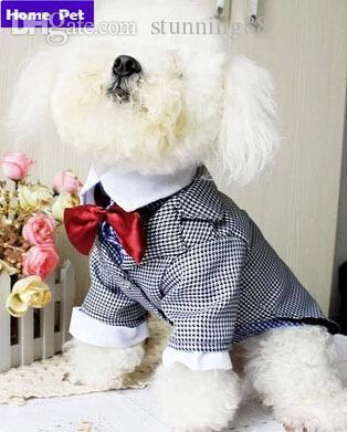 Atacado-Novo Pet Dog Clothes Cat Casamento Terno Swallow-tailed Casaco Partido Suit Dog Wedding Clothes Dog Camisa Macacão Frete Grátis S18