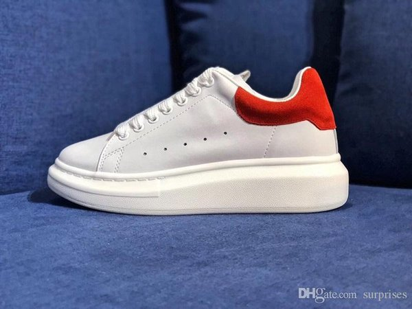 2019 White Leather Casual Shoes for Girl Women Men Black Gold Red Fashion Comfortable Flat Sneakers Size 35-44